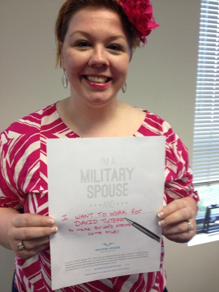 I'm a military spouse and... I want to work for DAVID TUTERA to make bride's dreams come true!