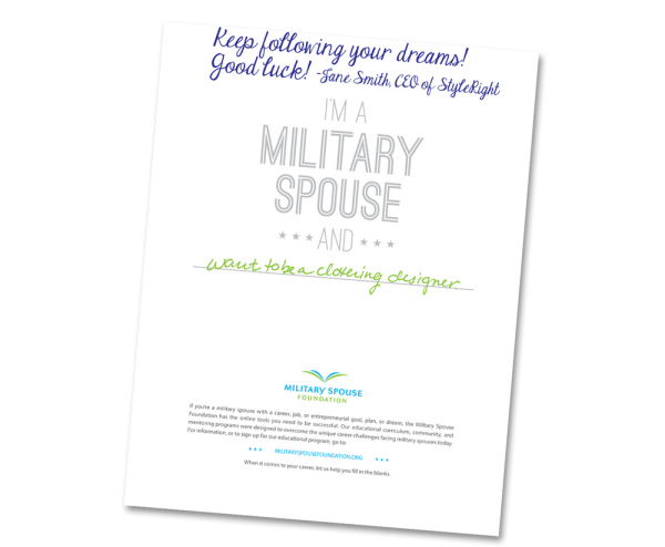 Military Spouse Statement of Support for Career Dream