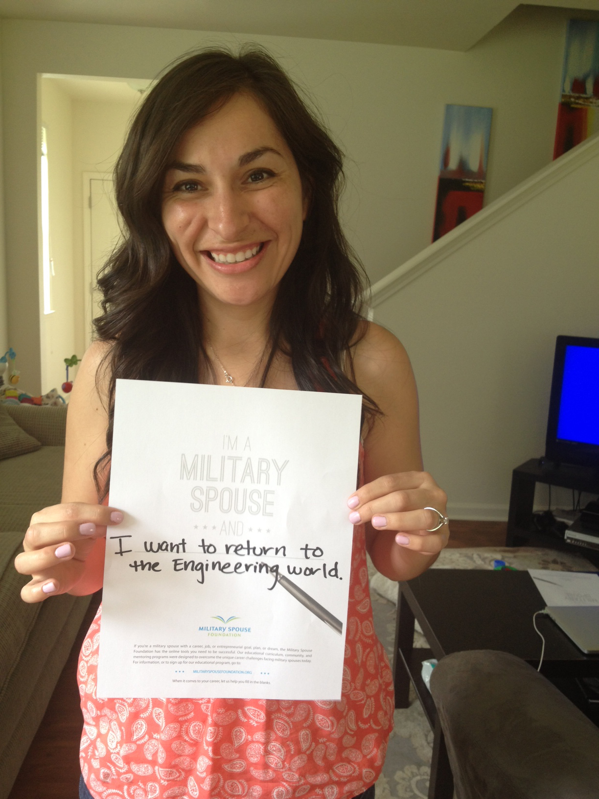 I'm a military spouse and ... I want to return to the engineering world.